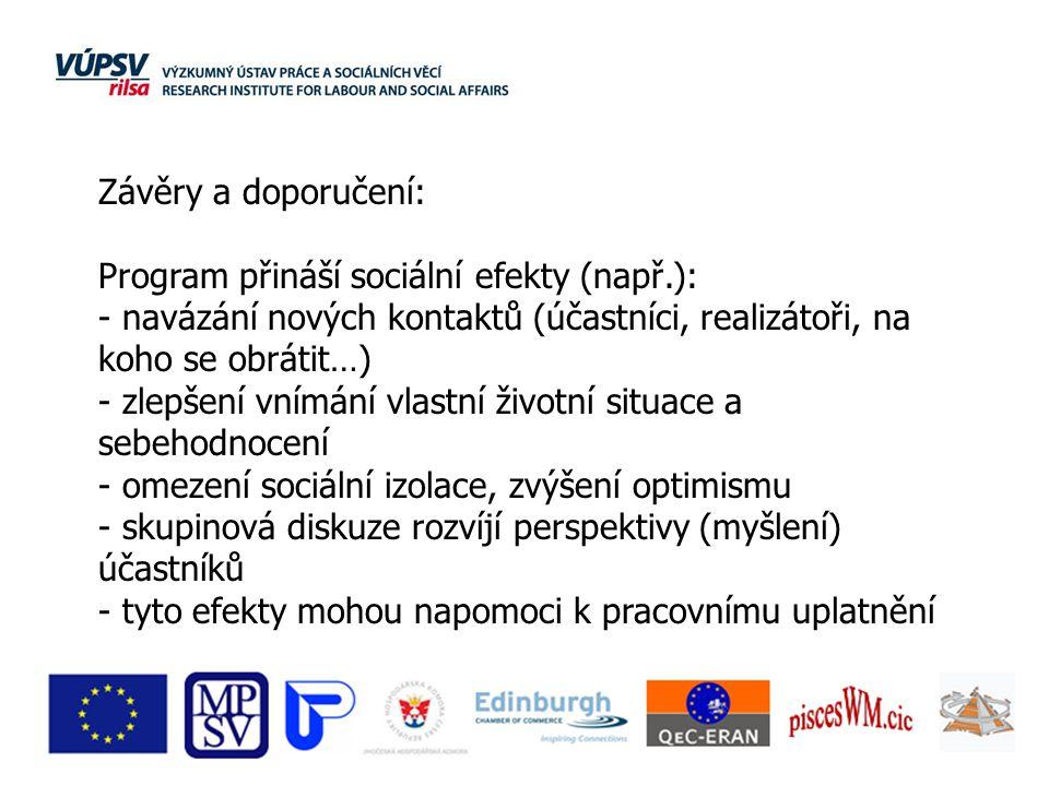 Závěry a doporučení: Program přináší sociální efekty (např.): - navázání nových kontaktů (účastníci, realizátoři, na koho se obrátit…) - zlepšení vním