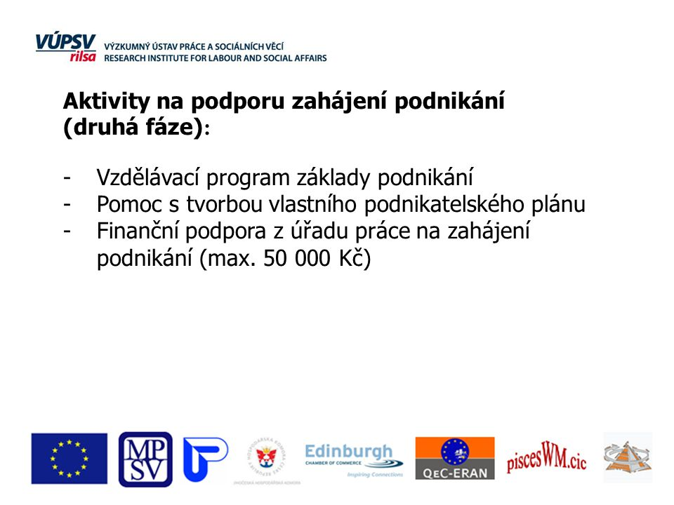 Aktivity na podporu zahájení podnikání (druhá fáze) : -Vzdělávací program základy podnikání -Pomoc s tvorbou vlastního podnikatelského plánu -Finanční podpora z úřadu práce na zahájení podnikání (max.
