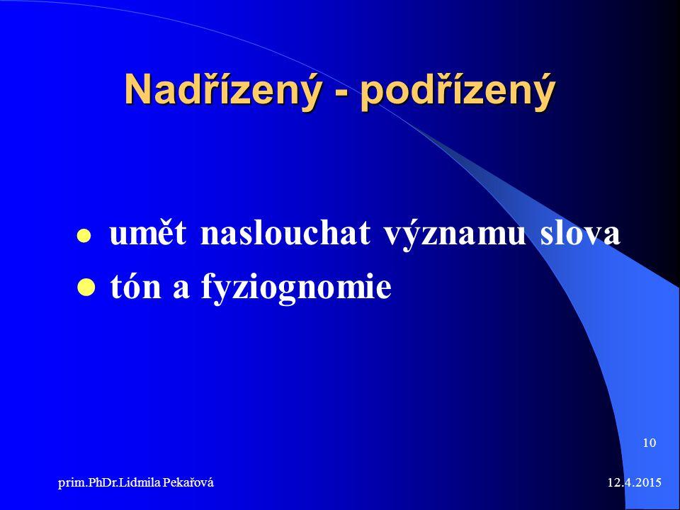 12.4.2015prim.PhDr.Lidmila Pekařová 10 Nadřízený - podřízený umět naslouchat významu slova tón a fyziognomie