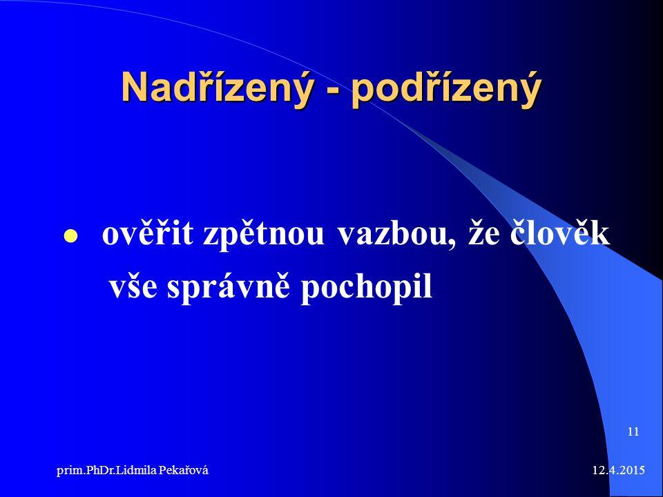 12.4.2015prim.PhDr.Lidmila Pekařová 11 Nadřízený - podřízený ověřit zpětnou vazbou, že člověk vše správně pochopil
