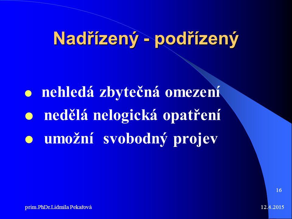 12.4.2015prim.PhDr.Lidmila Pekařová 16 Nadřízený - podřízený  nehledá zbytečná omezení  nedělá nelogická opatření  umožní svobodný projev