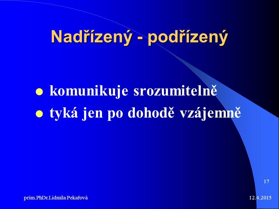 12.4.2015prim.PhDr.Lidmila Pekařová 17 Nadřízený - podřízený  komunikuje srozumitelně  tyká jen po dohodě vzájemně