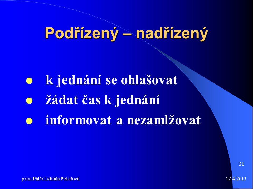 12.4.2015prim.PhDr.Lidmila Pekařová 21 Podřízený – nadřízený  k jednání se ohlašovat  žádat čas k jednání  informovat a nezamlžovat