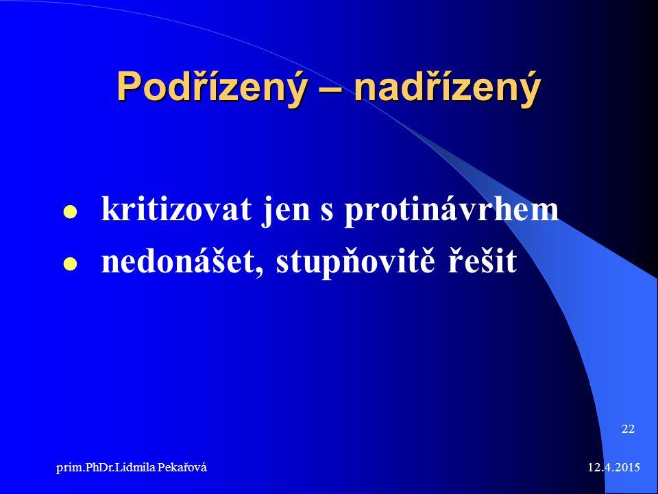 12.4.2015prim.PhDr.Lidmila Pekařová 22 Podřízený – nadřízený kritizovat jen s protinávrhem nedonášet, stupňovitě řešit