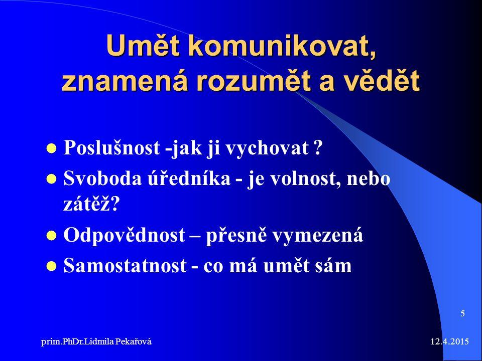 12.4.2015prim.PhDr.Lidmila Pekařová 5 Umět komunikovat, znamená rozumět a vědět Poslušnost -jak ji vychovat .