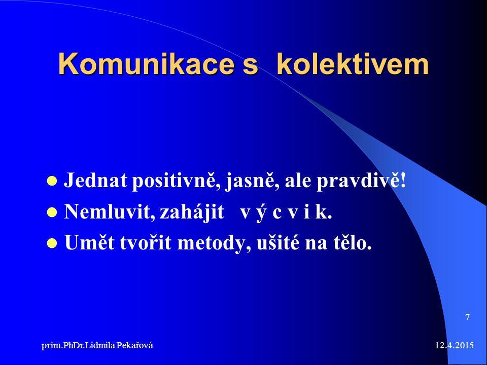 12.4.2015prim.PhDr.Lidmila Pekařová 7 Komunikace s kolektivem Jednat positivně, jasně, ale pravdivě.