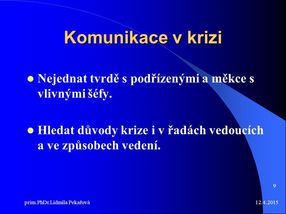 12.4.2015prim.PhDr.Lidmila Pekařová 9 Komunikace v krizi Nejednat tvrdě s podřízenými a měkce s vlivnými šéfy.