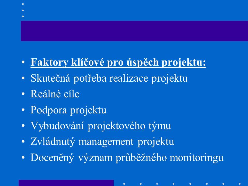 Faktory klíčové pro úspěch projektu: Skutečná potřeba realizace projektu Reálné cíle Podpora projektu Vybudování projektového týmu Zvládnutý management projektu Doceněný význam průběžného monitoringu