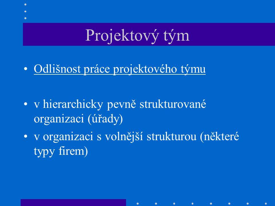 Projektový tým Význam týmových rolí pro fungování projektového týmu Různé typologie, podobná vyústění Tým by měl být sestaven tak, aby projekt kvalitně připravil, prosadil, zahájil, realizoval a dokončil