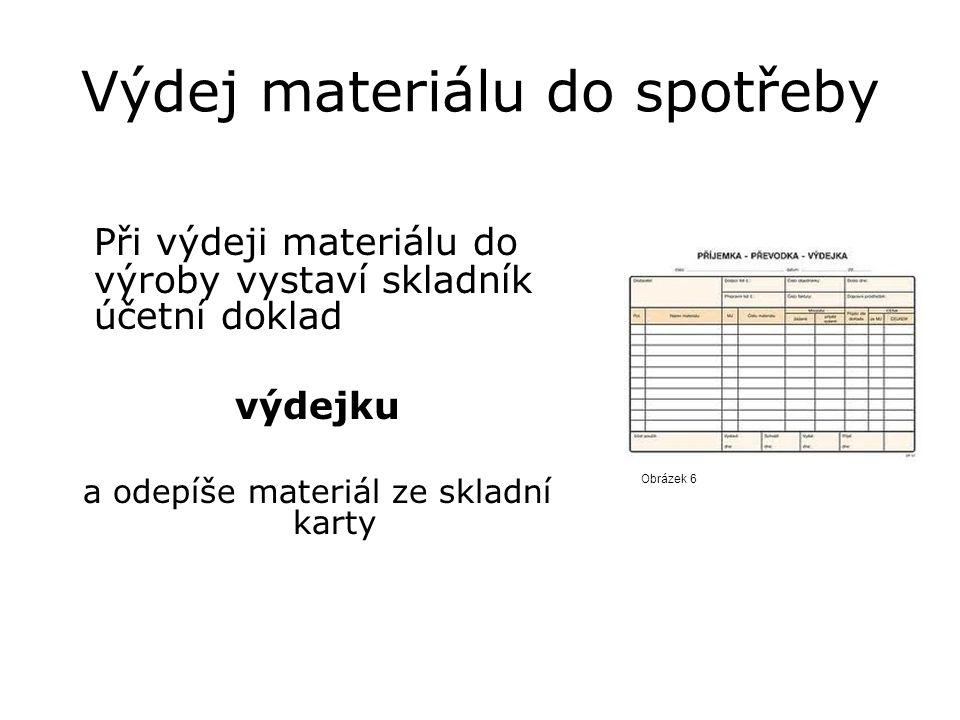 Výdej materiálu do spotřeby Obrázek 6 Při výdeji materiálu do výroby vystaví skladník účetní doklad výdejku a odepíše materiál ze skladní karty