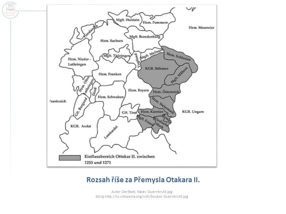 Rozsah říše za Přemysla Otakara II. Autor:DerBasti, Název:Duernkrut3.jpg Zdroj:http://cs.wikipedia.org/wiki/Soubor:Duernkrut3.jpg
