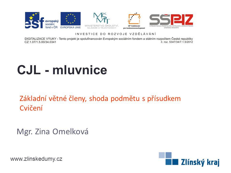Základní větné členy, shoda podmětu s přísudkem Cvičení Mgr. Zina Omelková CJL - mluvnice www.zlinskedumy.cz