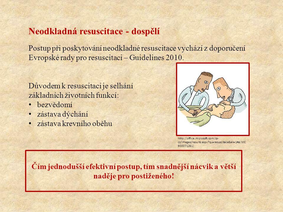 Neodkladná resuscitace - dospělí Postup při poskytování neodkladné resuscitace vychází z doporučení Evropské rady pro resuscitaci – Guidelines 2010.
