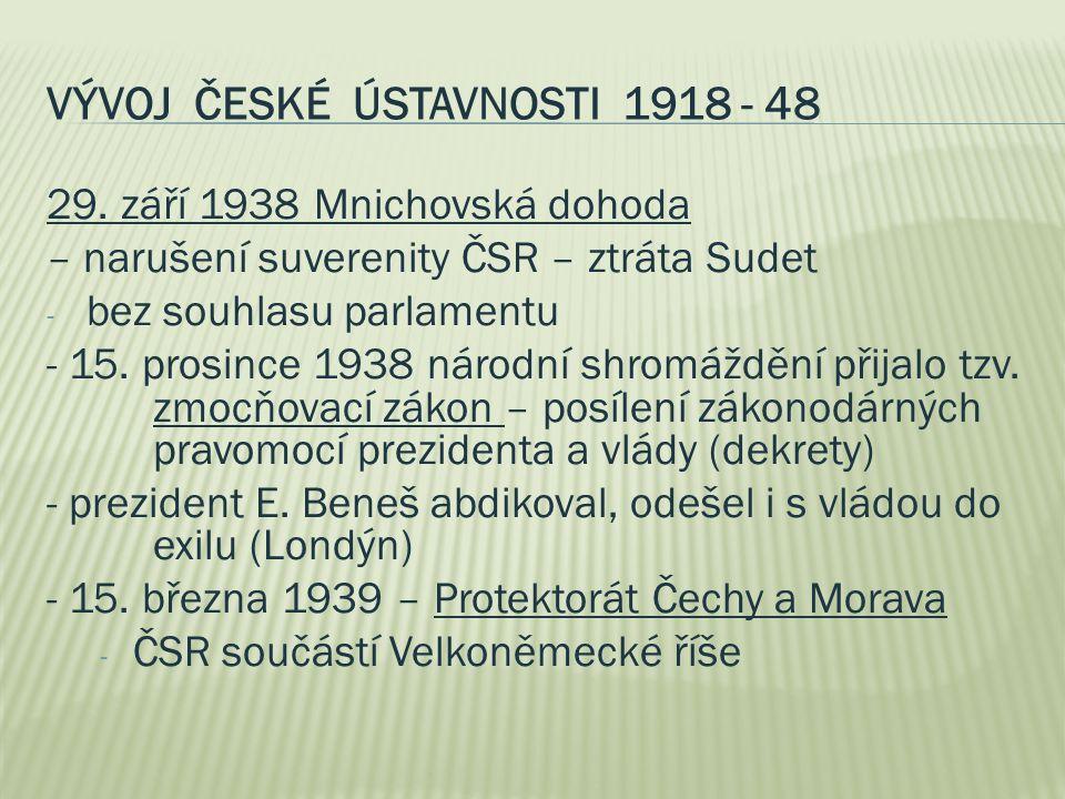 VÝVOJ ČESKÉ ÚSTAVNOSTI 1918 - 48 29. září 1938 Mnichovská dohoda – narušení suverenity ČSR – ztráta Sudet - bez souhlasu parlamentu - 15. prosince 193