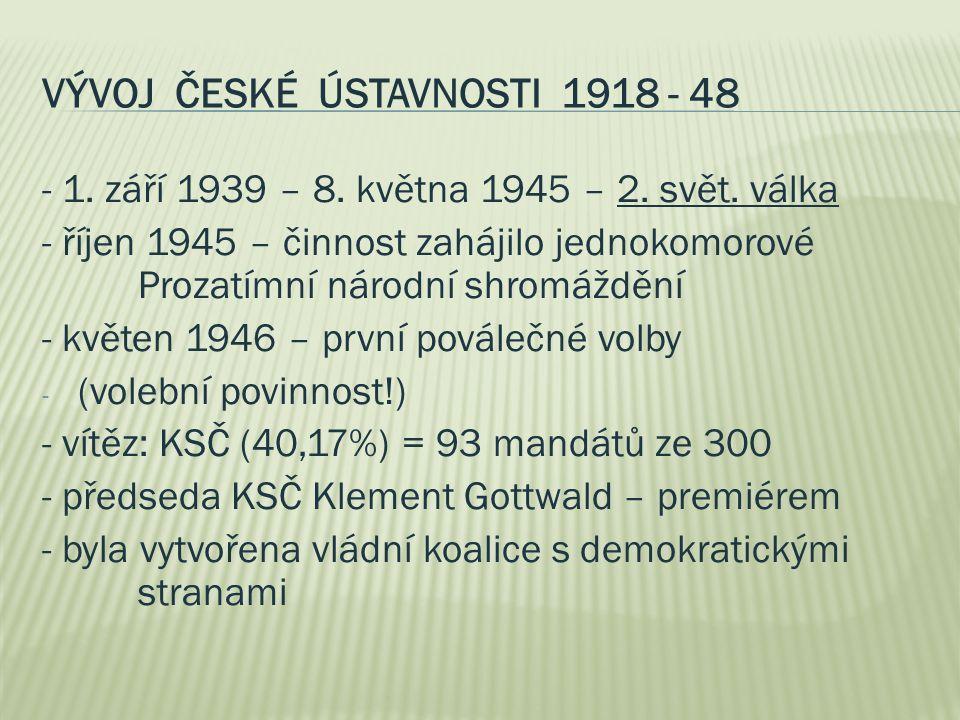 VÝVOJ ČESKÉ ÚSTAVNOSTI 1918 - 48 - 1. září 1939 – 8. května 1945 – 2. svět. válka - říjen 1945 – činnost zahájilo jednokomorové Prozatímní národní shr