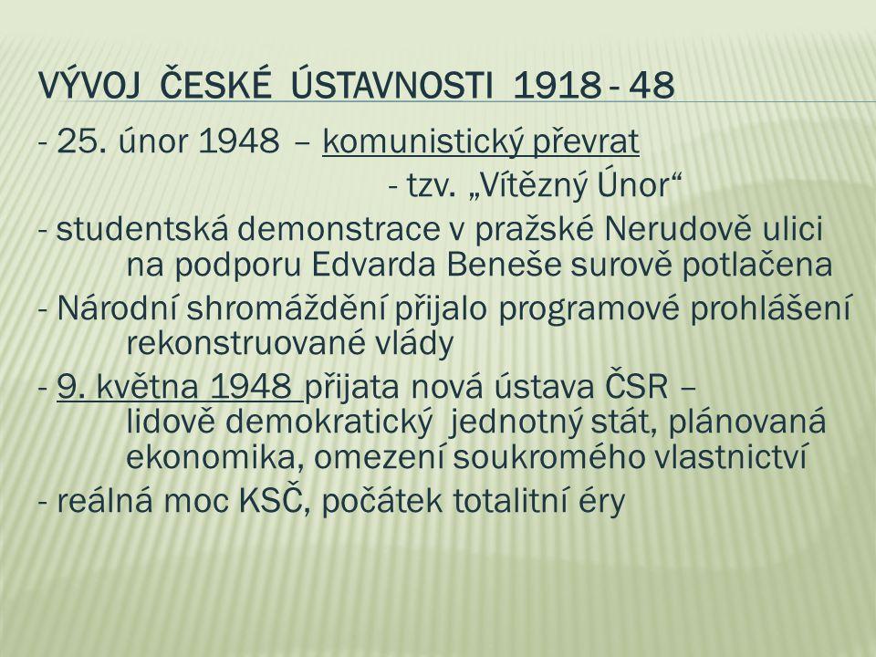 """VÝVOJ ČESKÉ ÚSTAVNOSTI 1918 - 48 - 25. únor 1948 – komunistický převrat - tzv. """"Vítězný Únor"""" - studentská demonstrace v pražské Nerudově ulici na pod"""