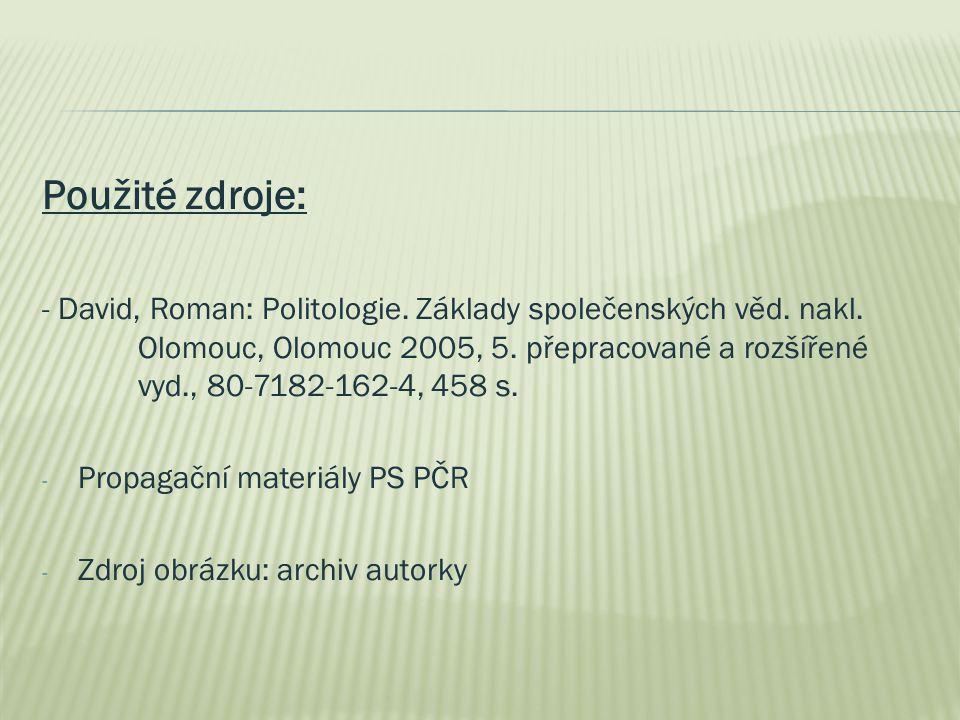 Použité zdroje: - David, Roman: Politologie. Základy společenských věd. nakl. Olomouc, Olomouc 2005, 5. přepracované a rozšířené vyd., 80-7182-162-4,