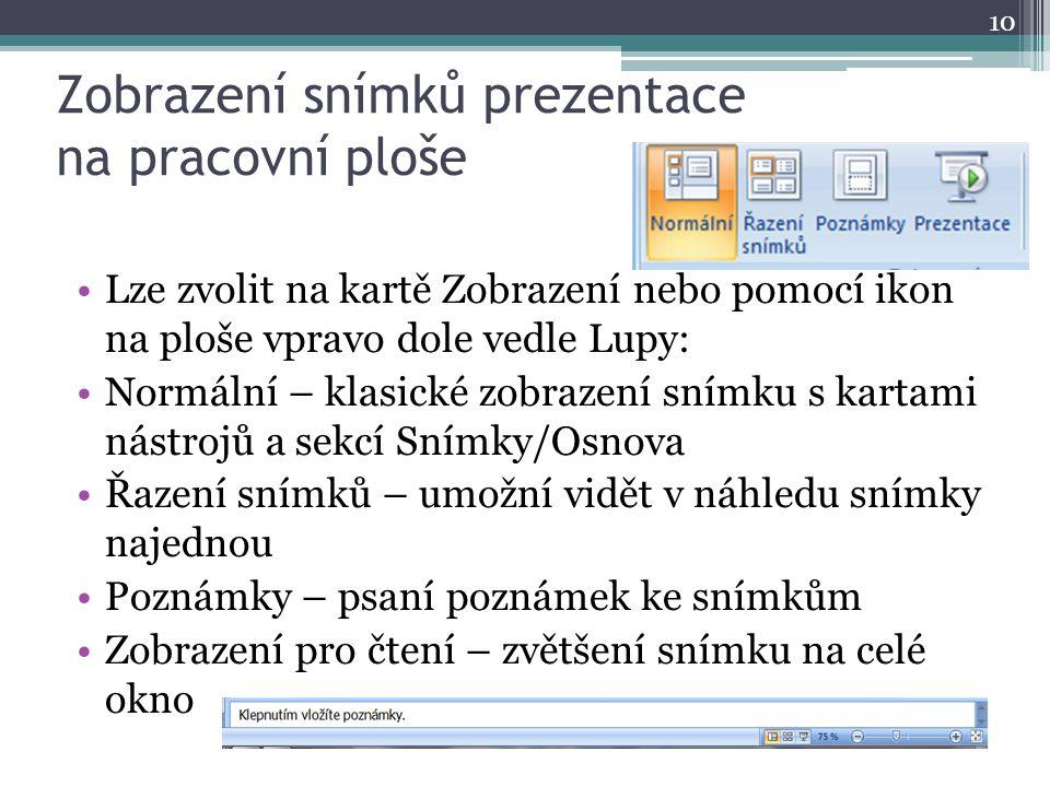 Zobrazení snímků prezentace na pracovní ploše 10 Lze zvolit na kartě Zobrazení nebo pomocí ikon na ploše vpravo dole vedle Lupy: Normální – klasické z