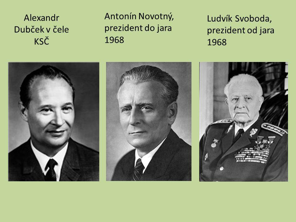 Alexandr Dubček v čele KSČ Antonín Novotný, prezident do jara 1968 Ludvík Svoboda, prezident od jara 1968