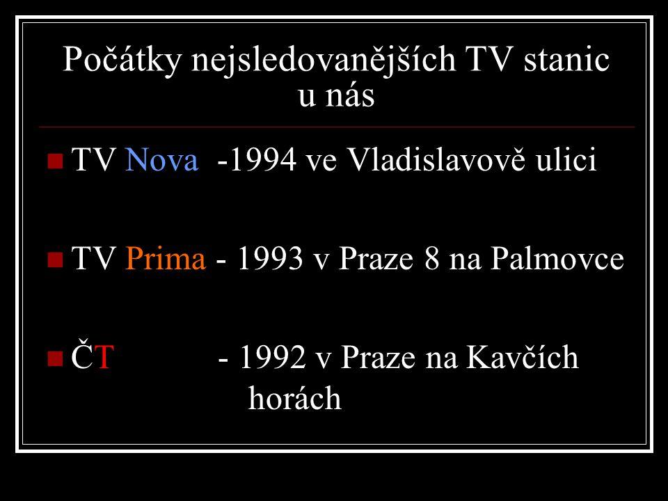 Počátky nejsledovanějších TV stanic u nás TV Nova -1994 ve Vladislavově ulici TV Prima - 1993 v Praze 8 na Palmovce ČT - 1992 v Praze na Kavčích horách
