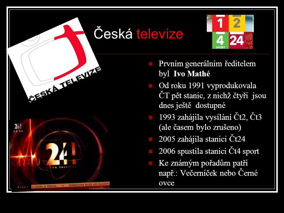 Prvním generálním ředitelem byl Ivo Mathé Od roku 1991 vyprodukovala ČT pět stanic, z nichž čtyři jsou dnes ještě dostupné 1993 zahájila vysílání Čt2, Čt3 (ale časem bylo zrušeno) 2005 zahájila stanici Čt24 2006 spustila stanici Čt4 sport Ke známým pořadům patří např.: Večerníček nebo Černé ovce Česká televize