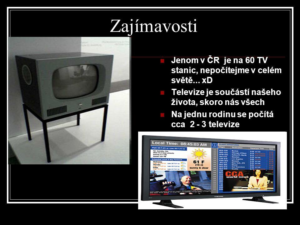 Zajímavosti Jenom v ČR je na 60 TV stanic, nepočítejme v celém světě...