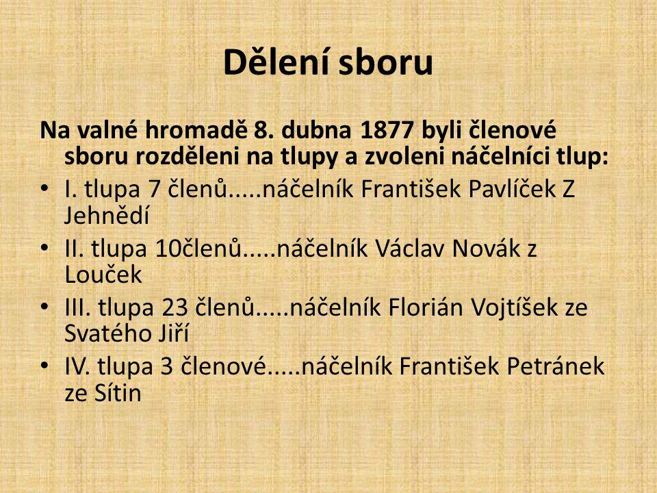 Dělení sboru Na valné hromadě 8. dubna 1877 byli členové sboru rozděleni na tlupy a zvoleni náčelníci tlup: I. tlupa 7 členů.....náčelník František Pa