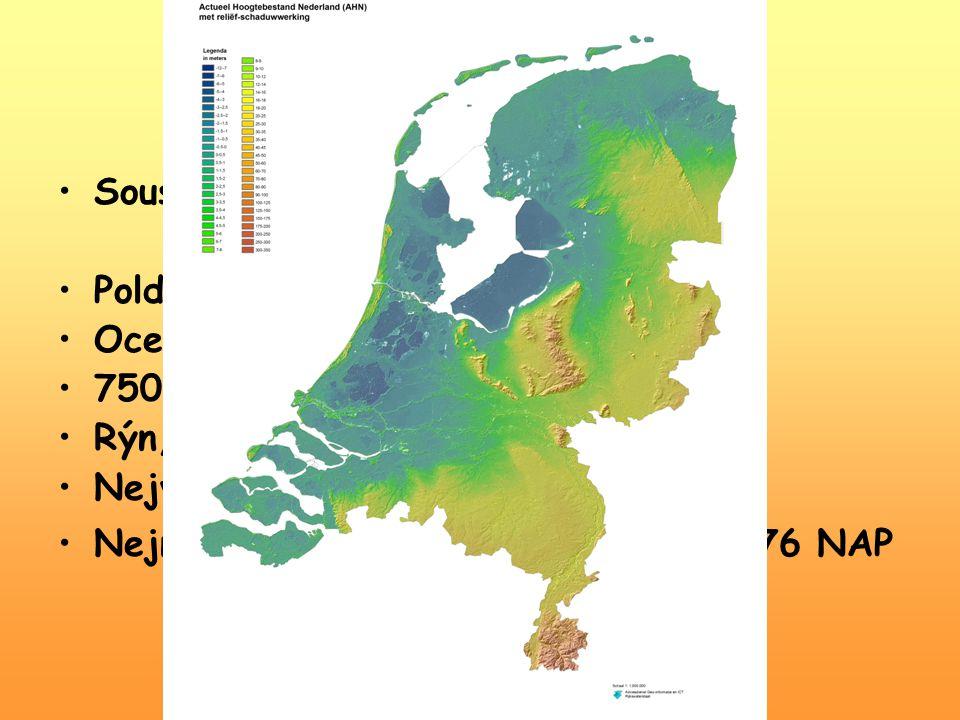 Geografie Sousedé: Severení moře, Německo, Belgie, Lucembursko Poldery, watty, marše Oceánské klima – Golfský proud 750-850 mm srážek ročně Rýn, Šelda