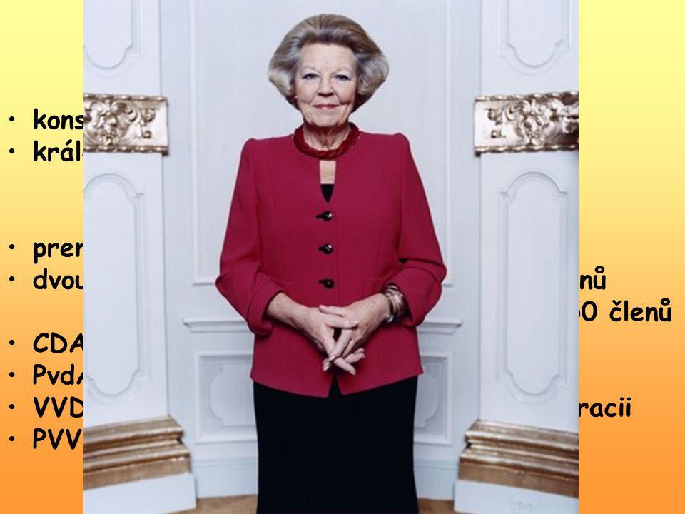 Politická scéna konstituční monarchie královna Beatrix Vilemína Armgarda Oranžsko-Nasavská ( od 30. 4. 1980 – Den královny ) premiér Jan Peter Balkene