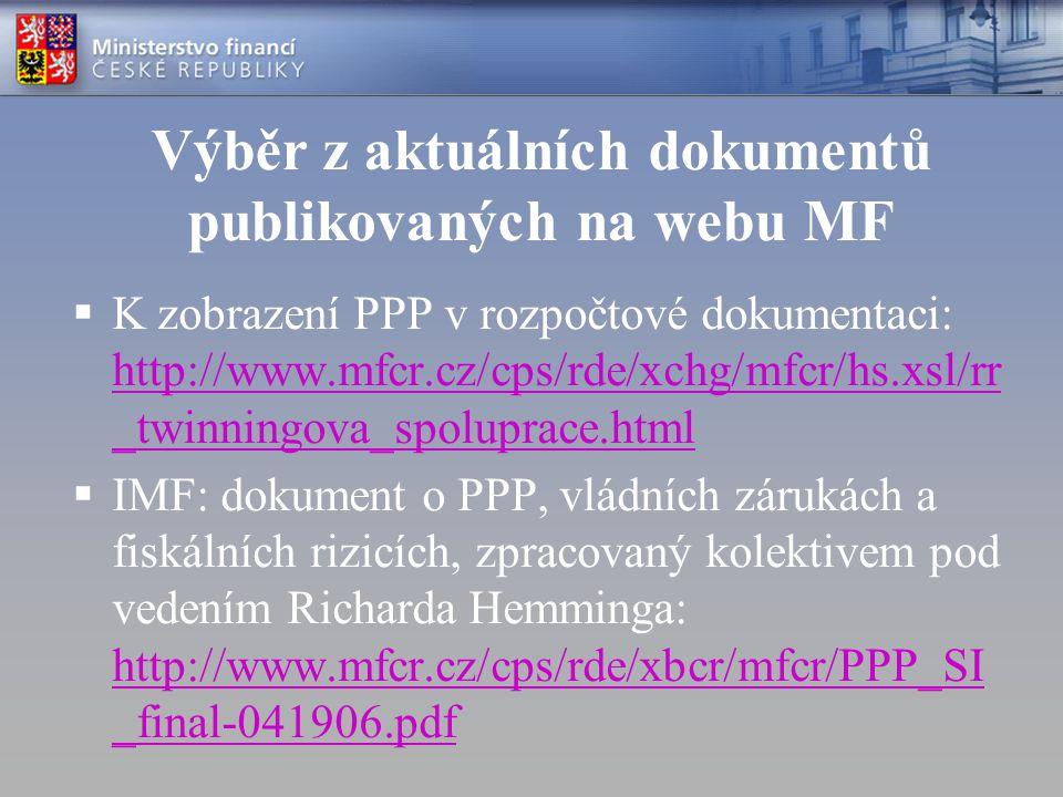 Výběr z aktuálních dokumentů publikovaných na webu MF  K zobrazení PPP v rozpočtové dokumentaci: http://www.mfcr.cz/cps/rde/xchg/mfcr/hs.xsl/rr _twinningova_spoluprace.html http://www.mfcr.cz/cps/rde/xchg/mfcr/hs.xsl/rr _twinningova_spoluprace.html  IMF: dokument o PPP, vládních zárukách a fiskálních rizicích, zpracovaný kolektivem pod vedením Richarda Hemminga: http://www.mfcr.cz/cps/rde/xbcr/mfcr/PPP_SI _final-041906.pdf http://www.mfcr.cz/cps/rde/xbcr/mfcr/PPP_SI _final-041906.pdf