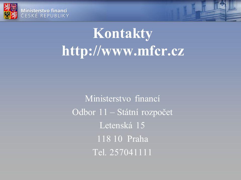 Kontakty http://www.mfcr.cz Ministerstvo financí Odbor 11 – Státní rozpočet Letenská 15 118 10 Praha Tel.