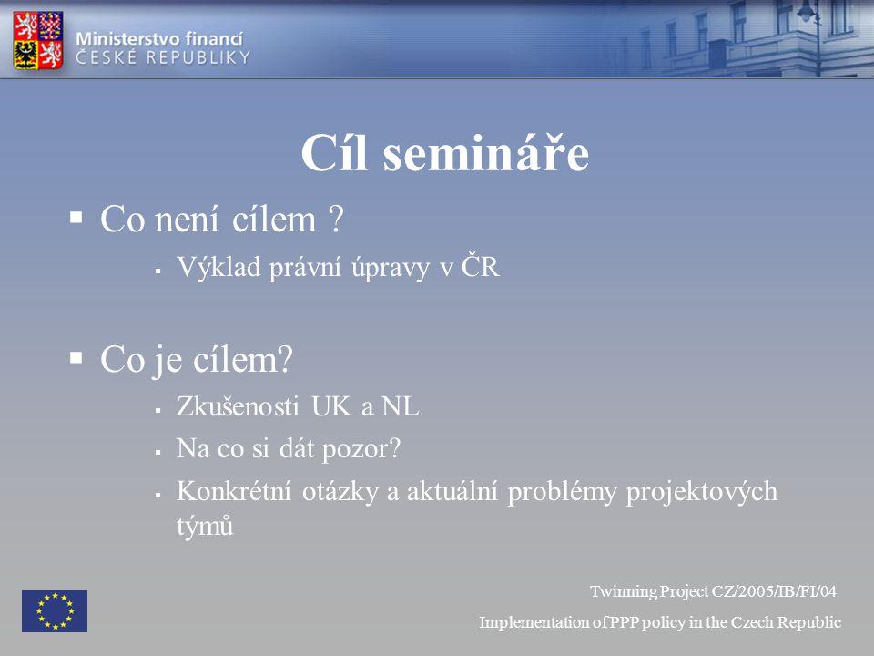 Cíl semináře  Co není cílem .  Výklad právní úpravy v ČR  Co je cílem.
