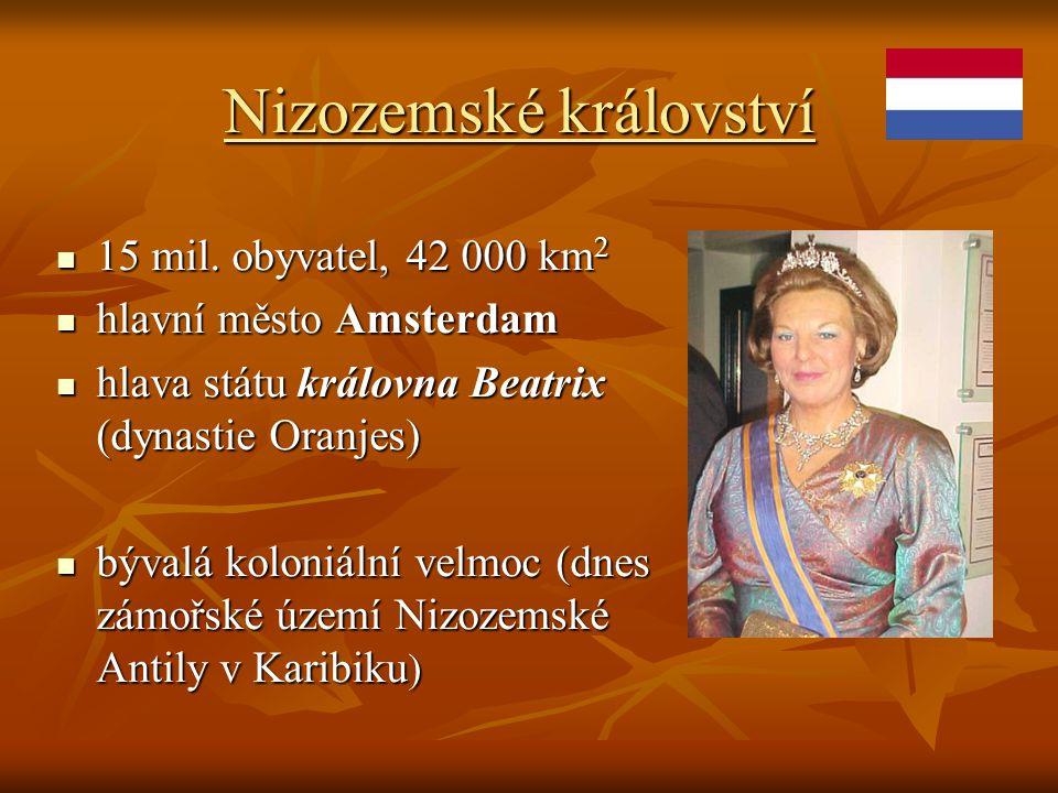 Nizozemské království 15 mil. obyvatel, 42 000 km 2 15 mil. obyvatel, 42 000 km 2 hlavní město Amsterdam hlavní město Amsterdam hlava státu královna B