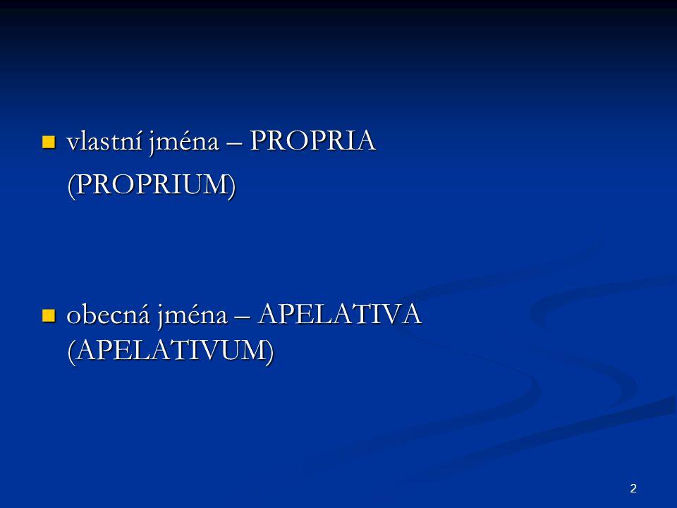 2 vlastní jména – PROPRIA vlastní jména – PROPRIA(PROPRIUM) obecná jména – APELATIVA (APELATIVUM) obecná jména – APELATIVA (APELATIVUM)
