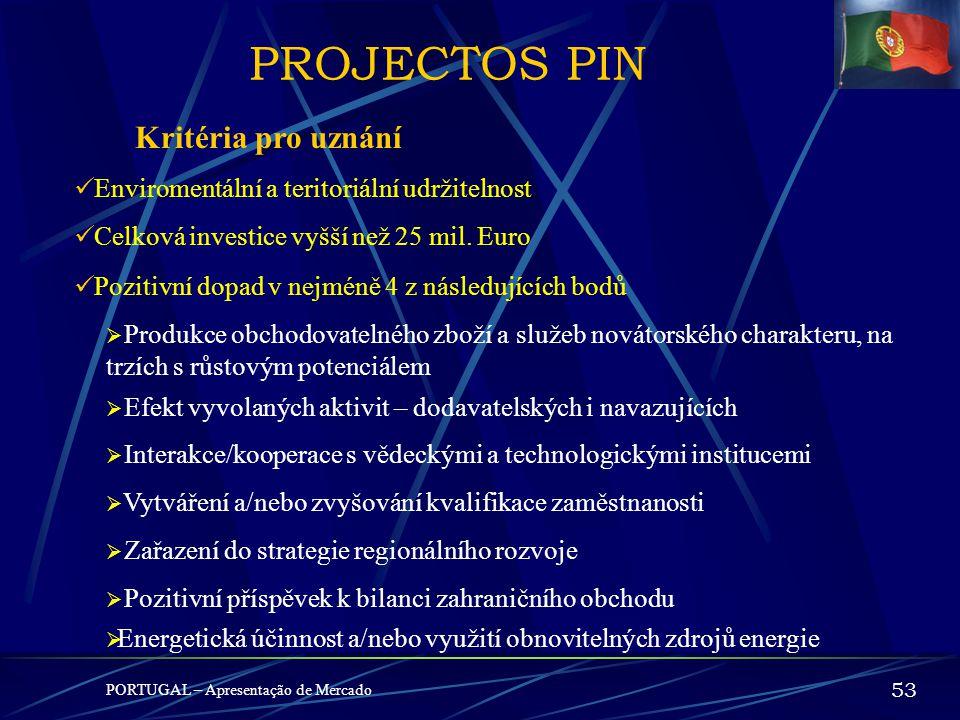 PROJECTOS PIN PORTUGAL – Apresentação de Mercado 52 PIN – Potencial Interesse Nacional ( Potenciál národního zájmu) Cíle Podpořit uskutečnění investič