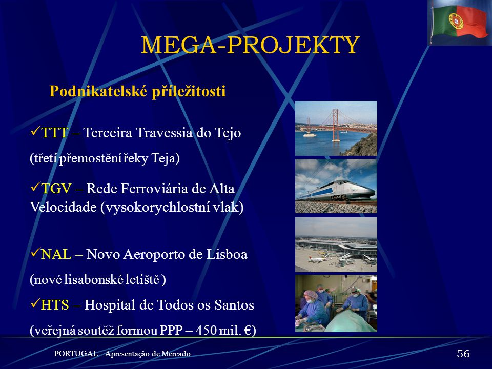PROJEKTY PIN + PORTUGAL – Apresentação de Mercado 55 Kritéria pro uznání Vyjímečně investice přes 60 mil. Euro, jedná-li se o:  Projekty nepopírateln