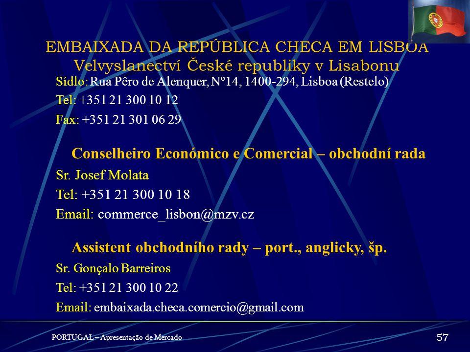 MEGA-PROJEKTY PORTUGAL – Apresentação de Mercado 56 Podnikatelské příležitosti TTT – Terceira Travessia do Tejo (třetí přemostění řeky Teja) TGV – Red