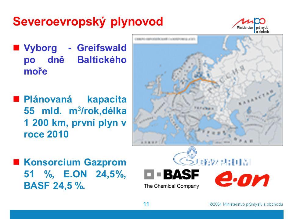  2004  Ministerstvo průmyslu a obchodu 11 Severoevropský plynovod Vyborg - Greifswald po dně Baltického moře Plánovaná kapacita 55 mld.