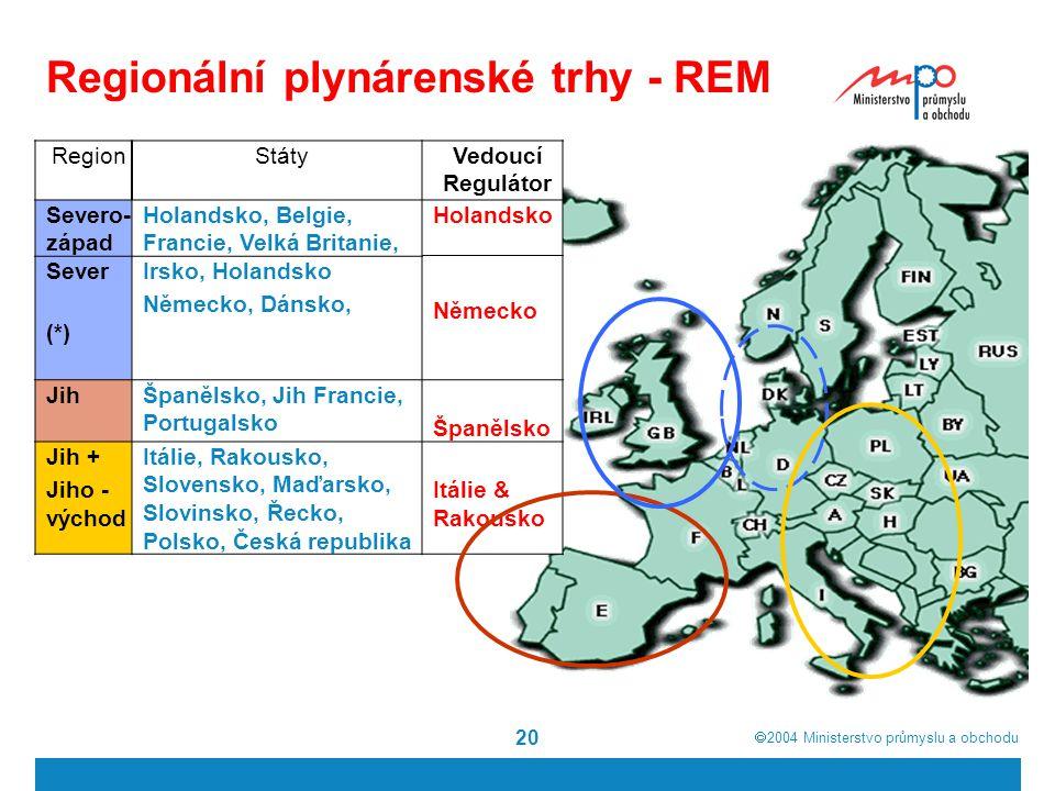  2004  Ministerstvo průmyslu a obchodu 20 Regionální plynárenské trhy - REM RegionStátyVedoucí Regulátor Severo- západ Holandsko, Belgie, Francie, Velká Britanie, Holandsko SeverIrsko, Holandsko Německo, Dánsko, (*) JihŠpanělsko, Jih Francie, Portugalsko Španělsko Jih + Jiho - východ Itálie, Rakousko, Slovensko, Maďarsko, Slovinsko, Řecko, Polsko, Česká republika Itálie & Rakousko Německo