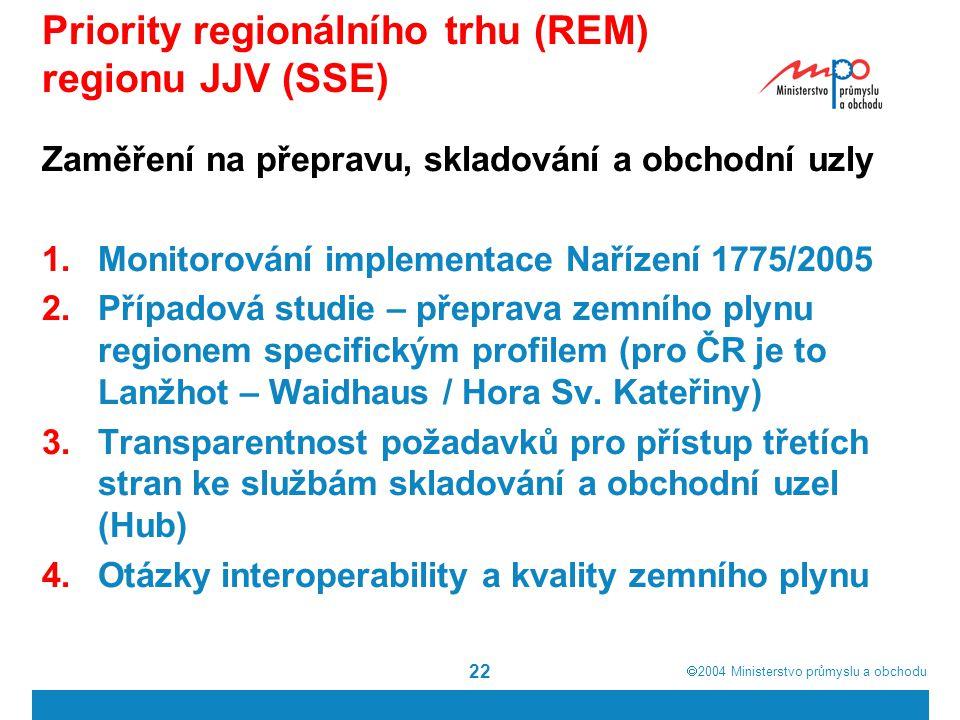  2004  Ministerstvo průmyslu a obchodu 22 Priority regionálního trhu (REM) regionu JJV (SSE) Zaměření na přepravu, skladování a obchodní uzly 1.Monitorování implementace Nařízení 1775/2005 2.Případová studie – přeprava zemního plynu regionem specifickým profilem (pro ČR je to Lanžhot – Waidhaus / Hora Sv.