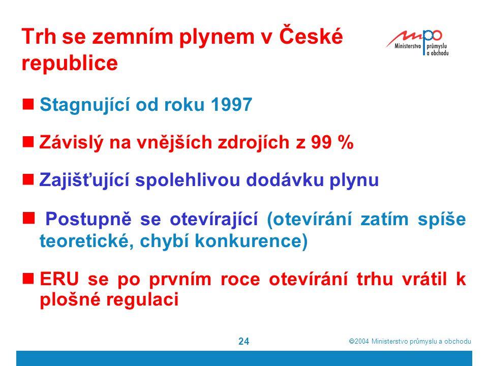  2004  Ministerstvo průmyslu a obchodu 24 Trh se zemním plynem v České republice Stagnující od roku 1997 Závislý na vnějších zdrojích z 99 % Zajišťující spolehlivou dodávku plynu Postupně se otevírající (otevírání zatím spíše teoretické, chybí konkurence) ERU se po prvním roce otevírání trhu vrátil k plošné regulaci