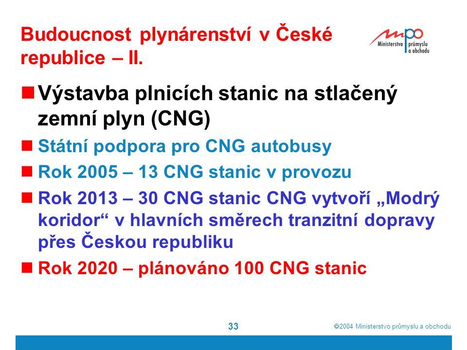  2004  Ministerstvo průmyslu a obchodu 33 Budoucnost plynárenství v České republice – II.