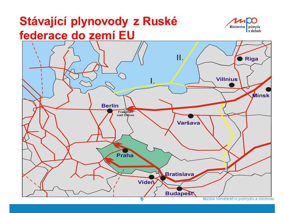  2004  Ministerstvo průmyslu a obchodu 6 Stávající plynovody z Ruské federace do zemí EU