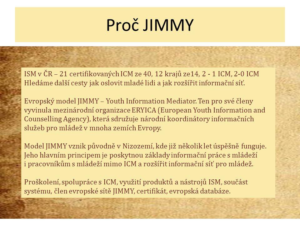 Proč JIMMY ISM v ČR – 21 certifikovaných ICM ze 40, 12 krajů ze14, 2 - 1 ICM, 2-0 ICM Hledáme další cesty jak oslovit mladé lidi a jak rozšířit informační síť.