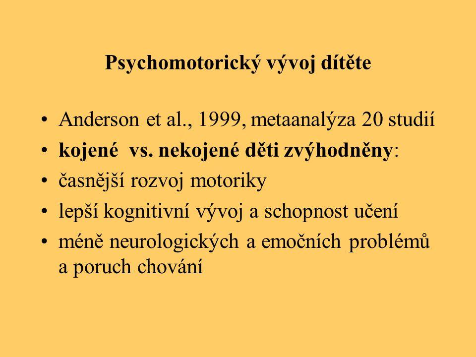Psychomotorický vývoj dítěte Anderson et al., 1999, metaanalýza 20 studií kojené vs. nekojené děti zvýhodněny: časnější rozvoj motoriky lepší kognitiv