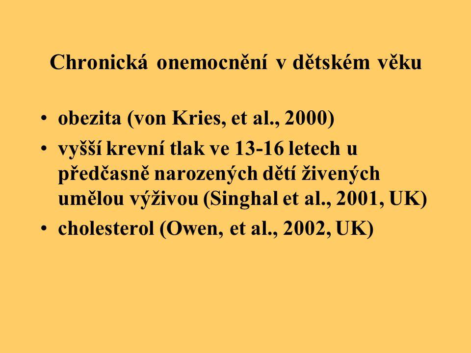 Chronická onemocnění v dětském věku obezita (von Kries, et al., 2000) vyšší krevní tlak ve 13-16 letech u předčasně narozených dětí živených umělou vý