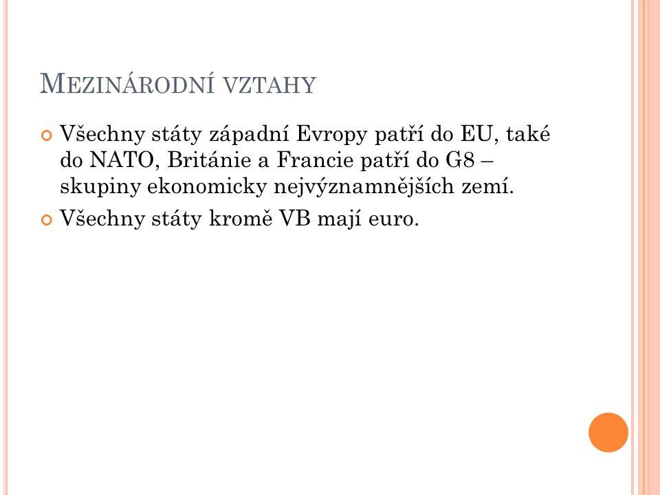 M EZINÁRODNÍ VZTAHY Všechny státy západní Evropy patří do EU, také do NATO, Británie a Francie patří do G8 – skupiny ekonomicky nejvýznamnějších zemí.