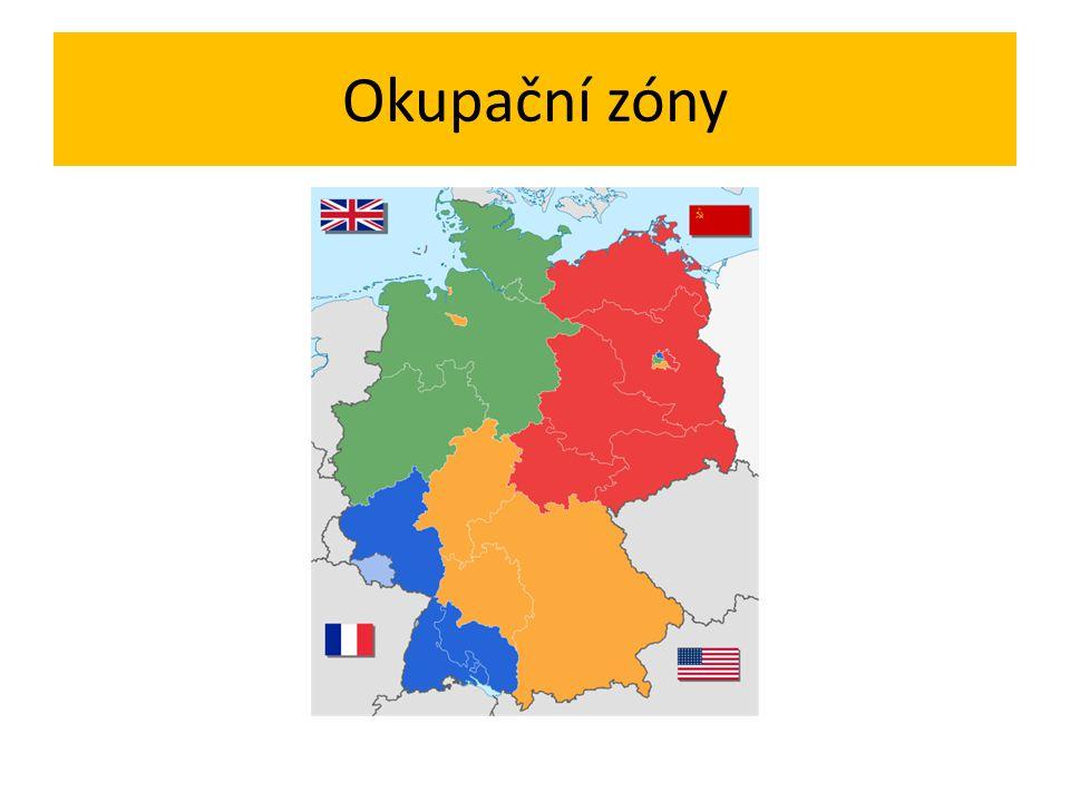 Konference ministrů zahraničních věcí Ministři zahraničních věcí USA, Velká Británie, Francie – Londýn – červen 1948 Připojení zástupců Belgie, Nizozemí, Lucemburska Rozhodnutí o vytvoření německého státu ze tří západních okup.