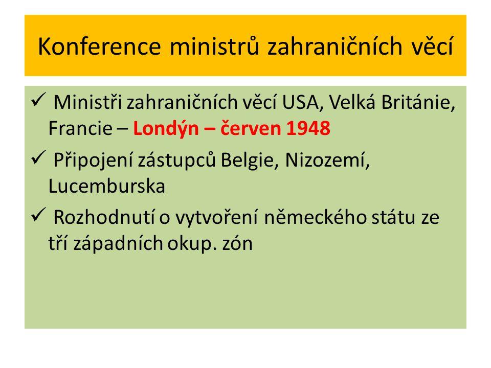 Konference ministrů zahraničních věcí Ministři zahraničních věcí USA, Velká Británie, Francie – Londýn – červen 1948 Připojení zástupců Belgie, Nizoze