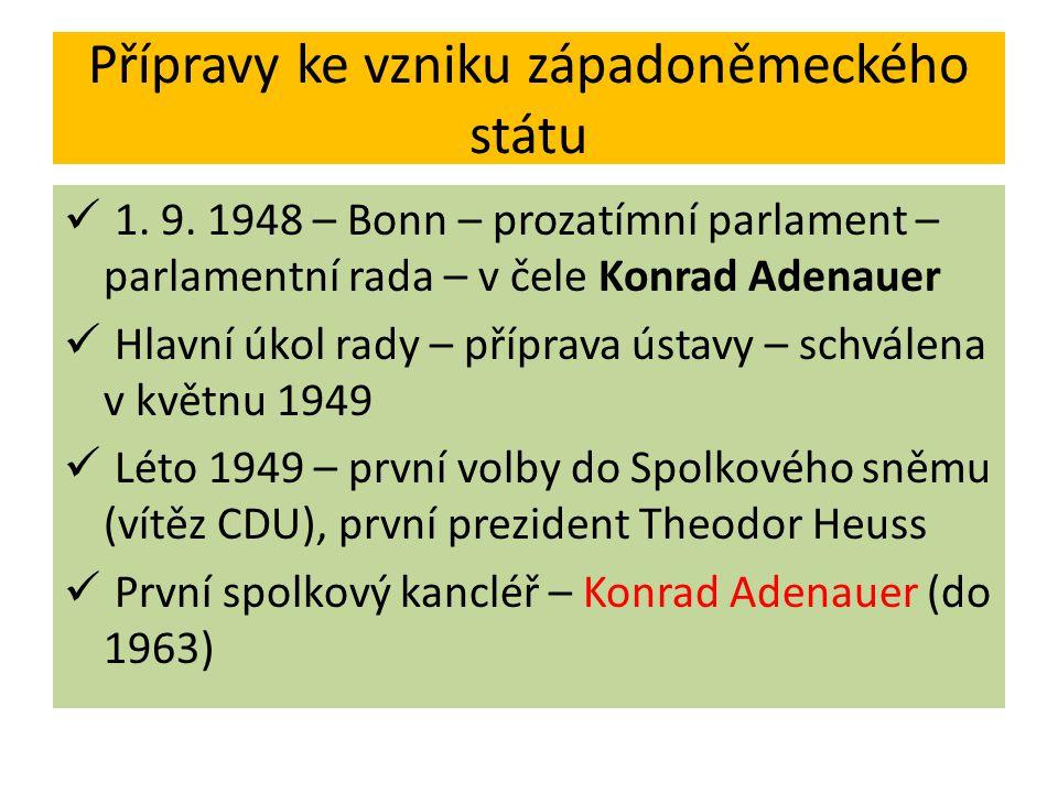 Přípravy ke vzniku západoněmeckého státu 1. 9. 1948 – Bonn – prozatímní parlament – parlamentní rada – v čele Konrad Adenauer Hlavní úkol rady – přípr